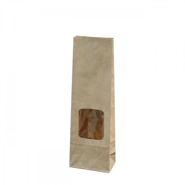 Blokbodemzakje met venster | bruin| 50 gr